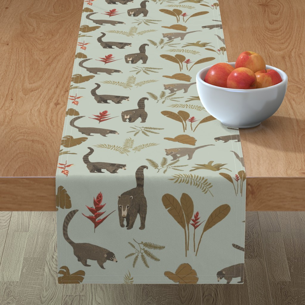 Minorca Table Runner featuring Coati Fest by tararoddenrobinson
