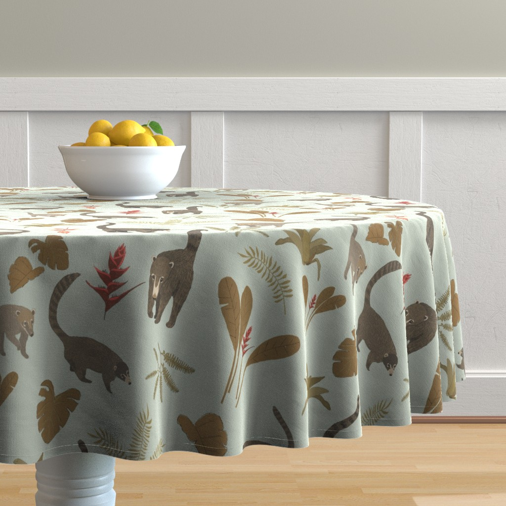 Malay Round Tablecloth featuring Coati Fest by tararoddenrobinson