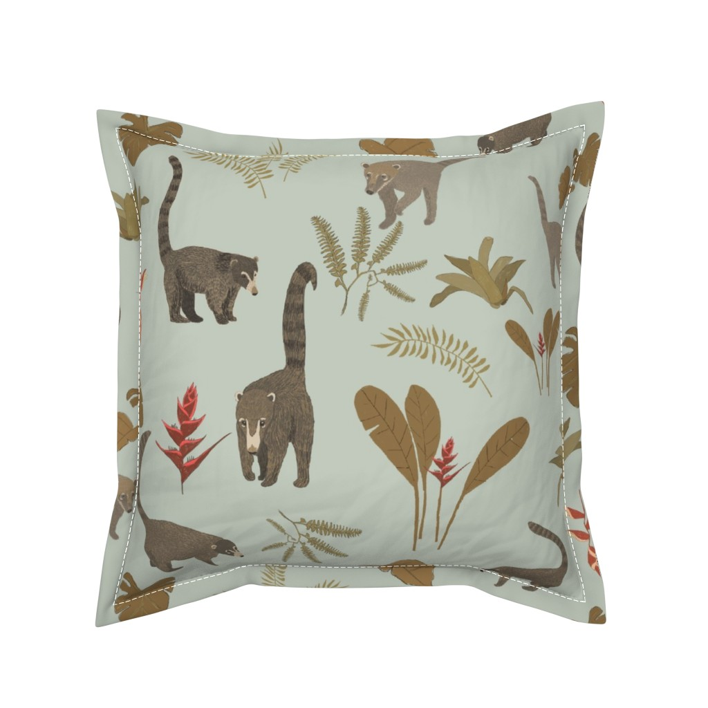 Serama Throw Pillow featuring Coati Fest by tararoddenrobinson