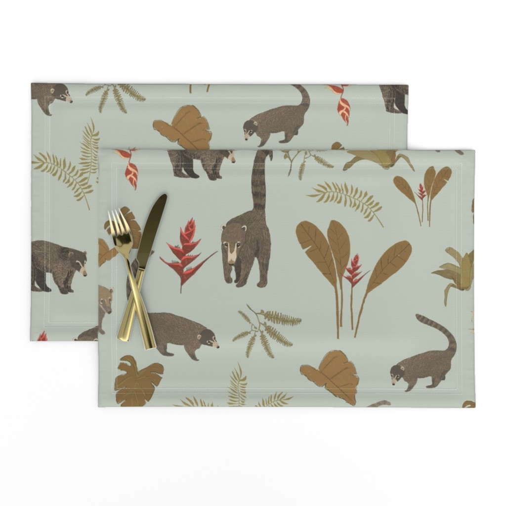 Lamona Cloth Placemats featuring Coati Fest by tarakatedesigns
