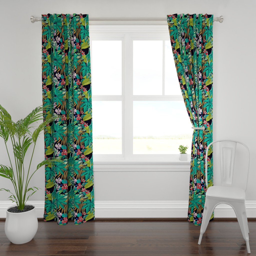 Plymouth Curtain Panel featuring Secret Oasis (vintage) by chicca_besso