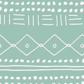 Minimal mudcloth bohemian mayan abstract indian summer love aztec design mint JUMBO