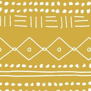 Minimal mudcloth bohemian mayan abstract indian summer love aztec design yellow ochre JUMBO