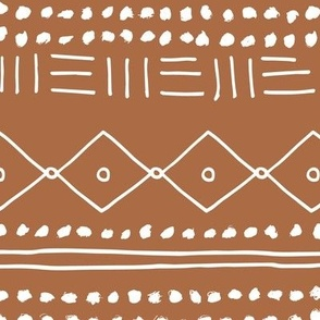 Minimal mudcloth bohemian mayan abstract indian summer love aztec design copper brown JUMBO
