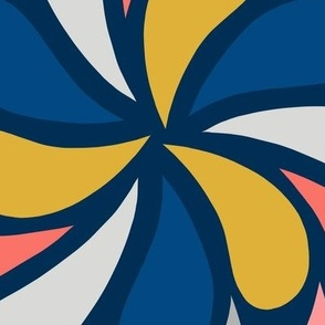 In a Spin - coral and navy