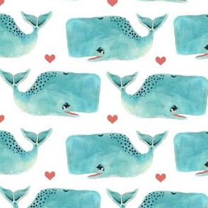 Watercolour Blue Whales and Hearts - Medium Scale