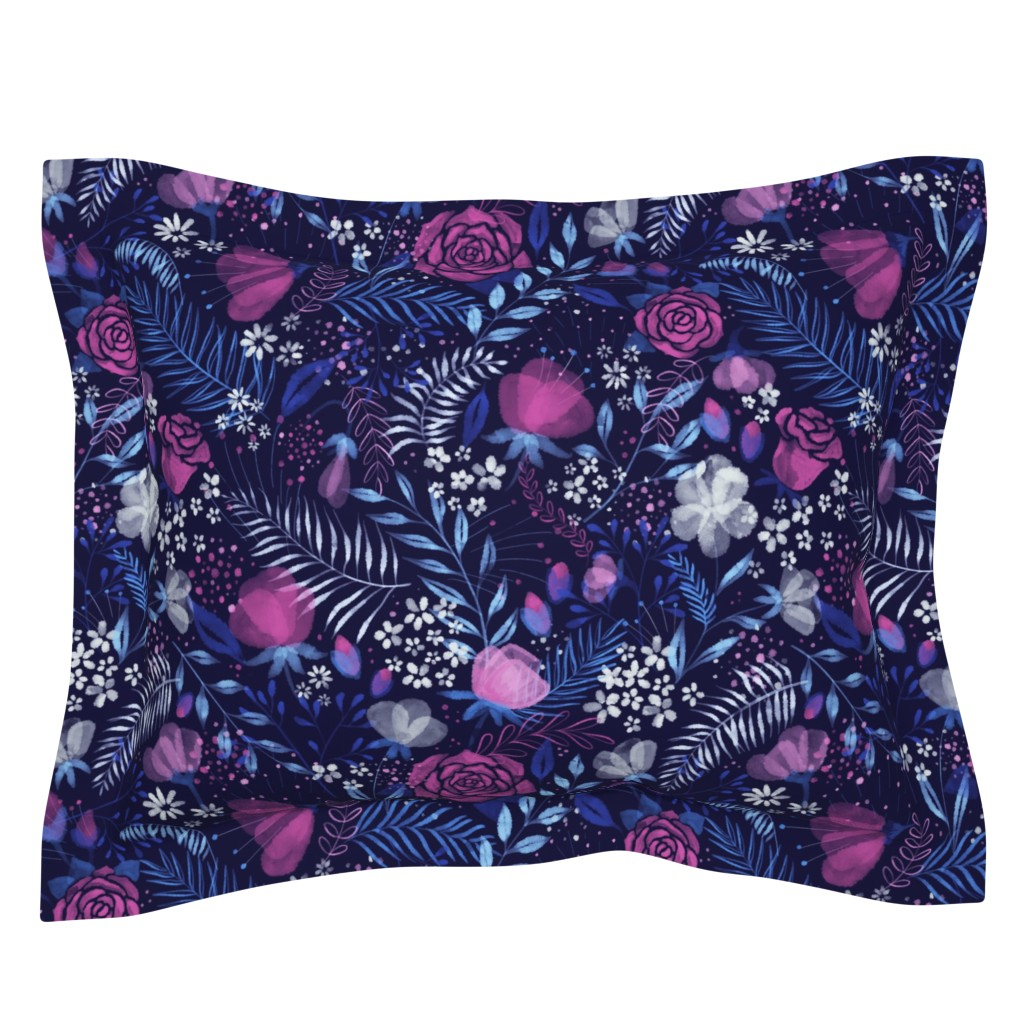 Sebright Pillow Sham featuring Moody Florals by abbilaura