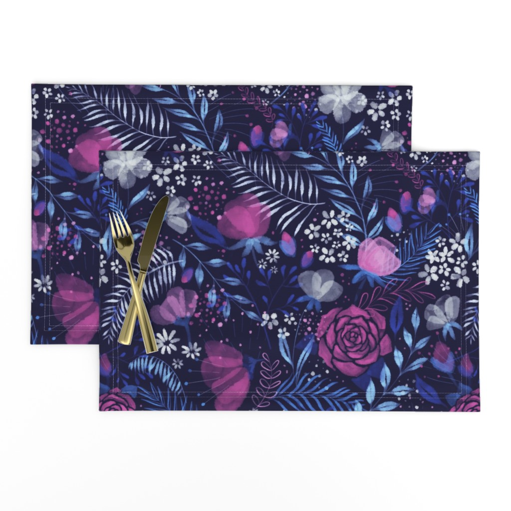 Lamona Cloth Placemats featuring Moody Florals by abbilaura