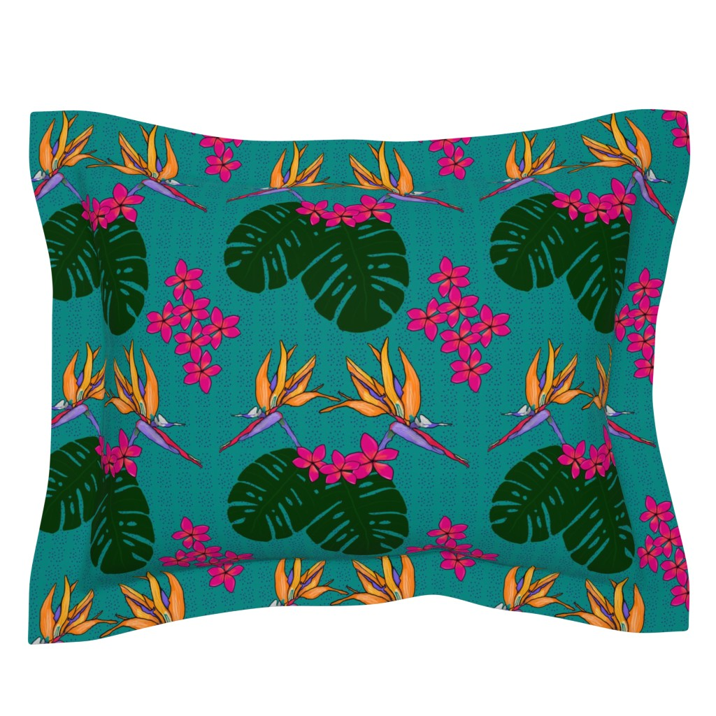 Sebright Pillow Sham featuring Bohemian Tropical Paradise Teal by lisablakedesigns