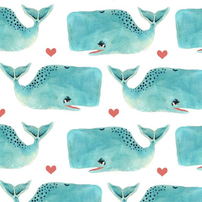 Watercolour Blue Whales and Hearts - Larger Scale
