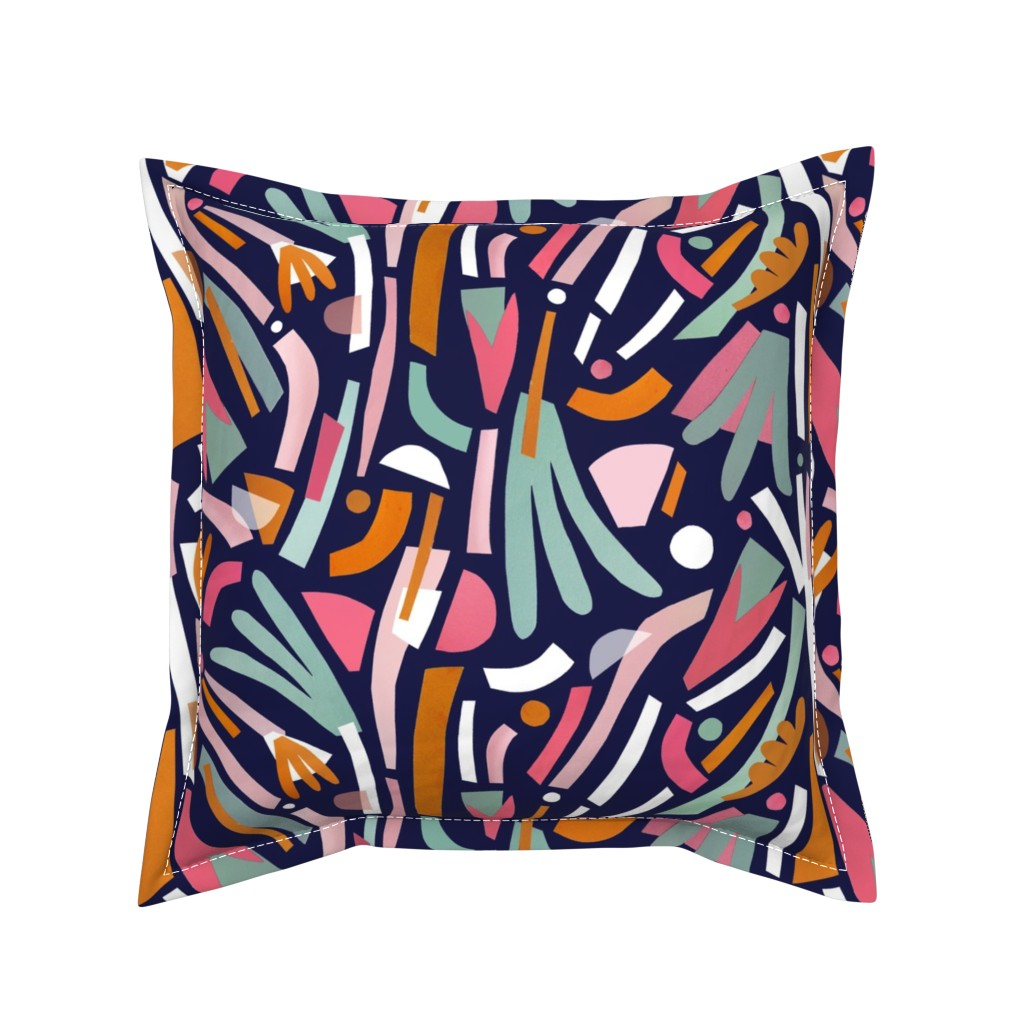 Serama Throw Pillow featuring Paper Palm Paradise by alicemoore