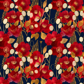 Camellia and honesty - Deep red, navy and antique gold