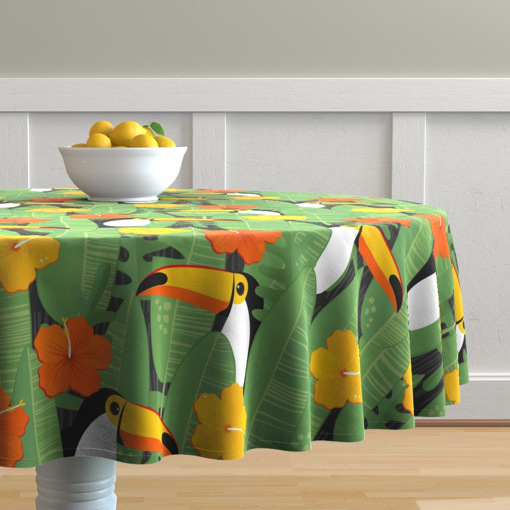 Malay Round Tablecloth featuring Bohemian Paradise. Toucans. by panimoni