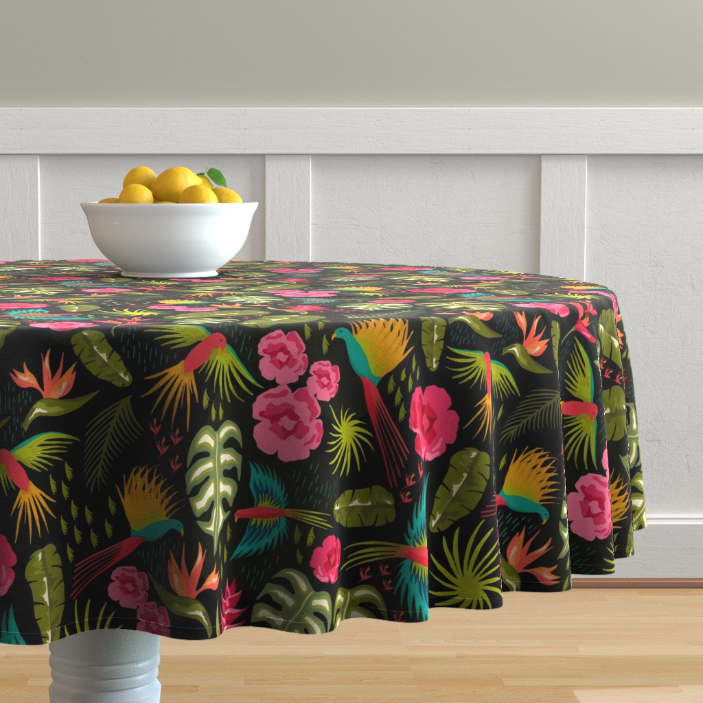 Malay Round Tablecloth featuring Jungle Paradise by warpedspinster