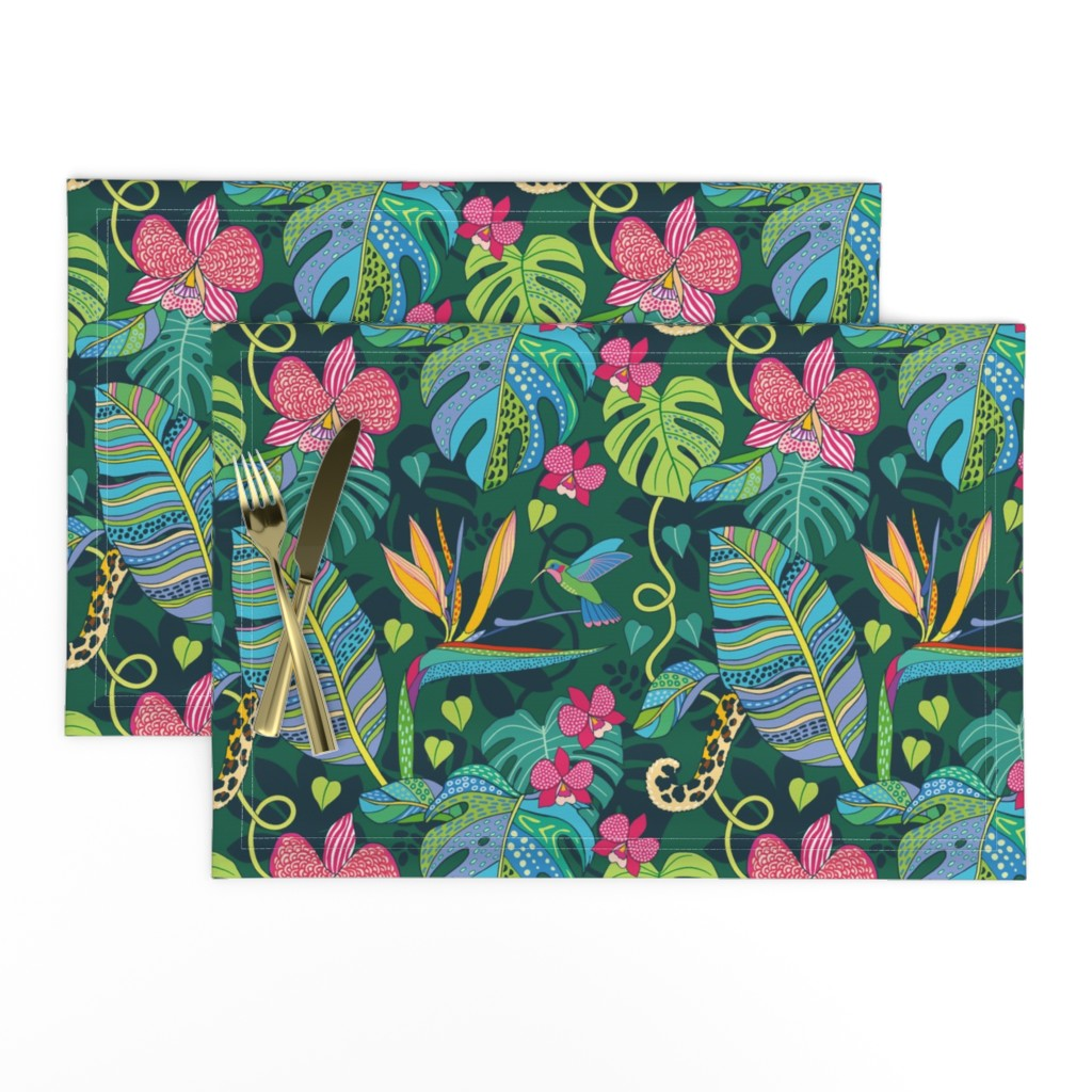 Lamona Cloth Placemats featuring Bohemian Tropics by nadyabasos