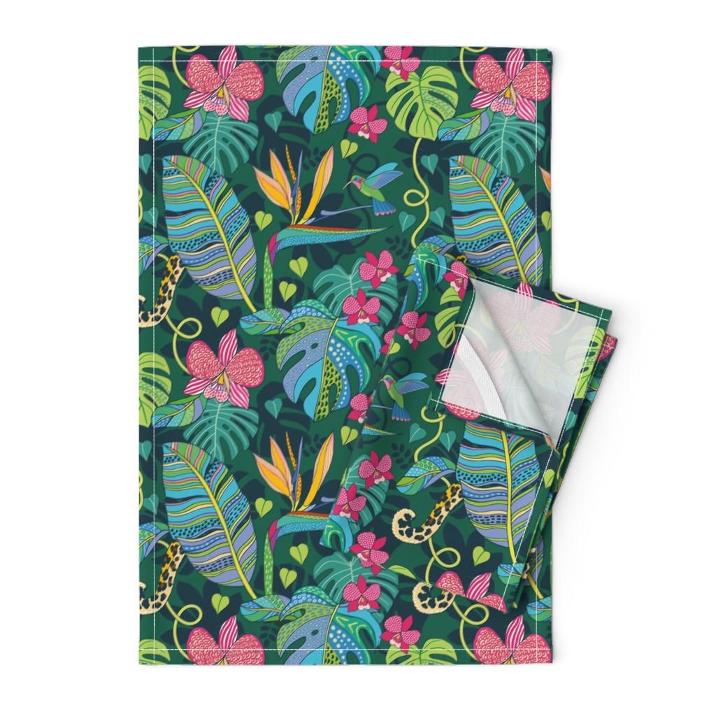 Orpington Tea Towels featuring Bohemian Tropics by nadyabasos