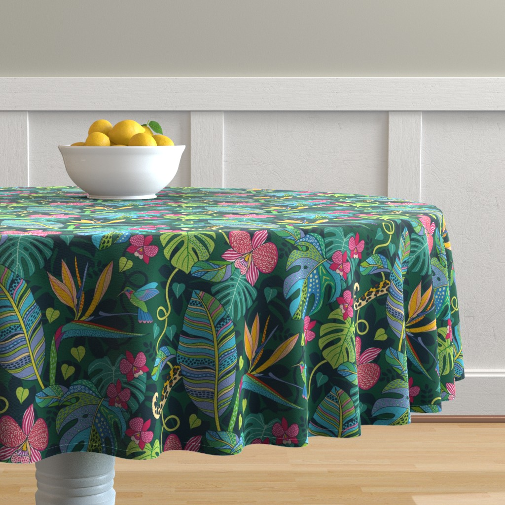 Malay Round Tablecloth featuring Bohemian Tropics by nadyabasos