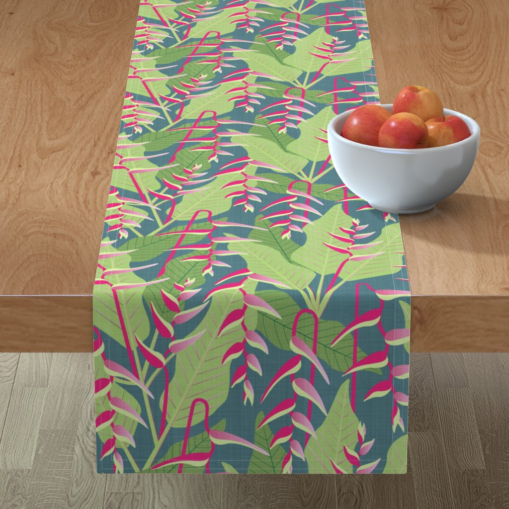 Minorca Table Runner featuring Heliconia  by lynnbishopdesign