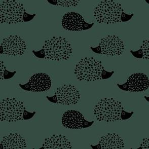 Sweet Scandinavian hedgehog garden animals for kids illustration fall winter green