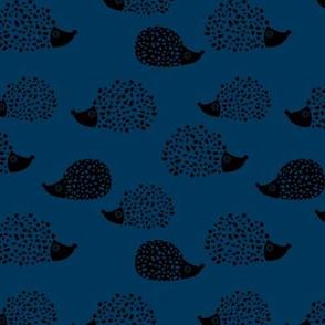 Sweet Scandinavian hedgehog garden animals for kids illustration fall winter night navy blue