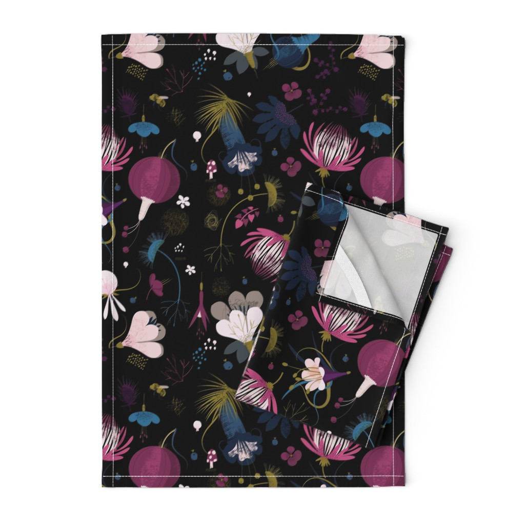 Orpington Tea Towels featuring moody florals by samrudddesign