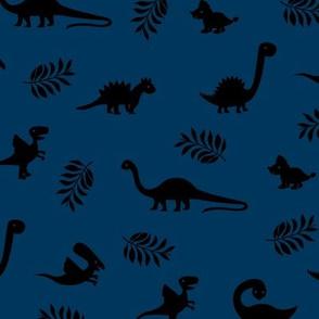 Minimal tropical dinosaur garden palm leaf summer swim design night navy blue