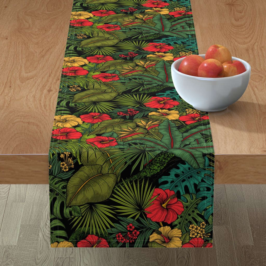 Minorca Table Runner featuring Tropical garden, green and red by katerina_kirilova