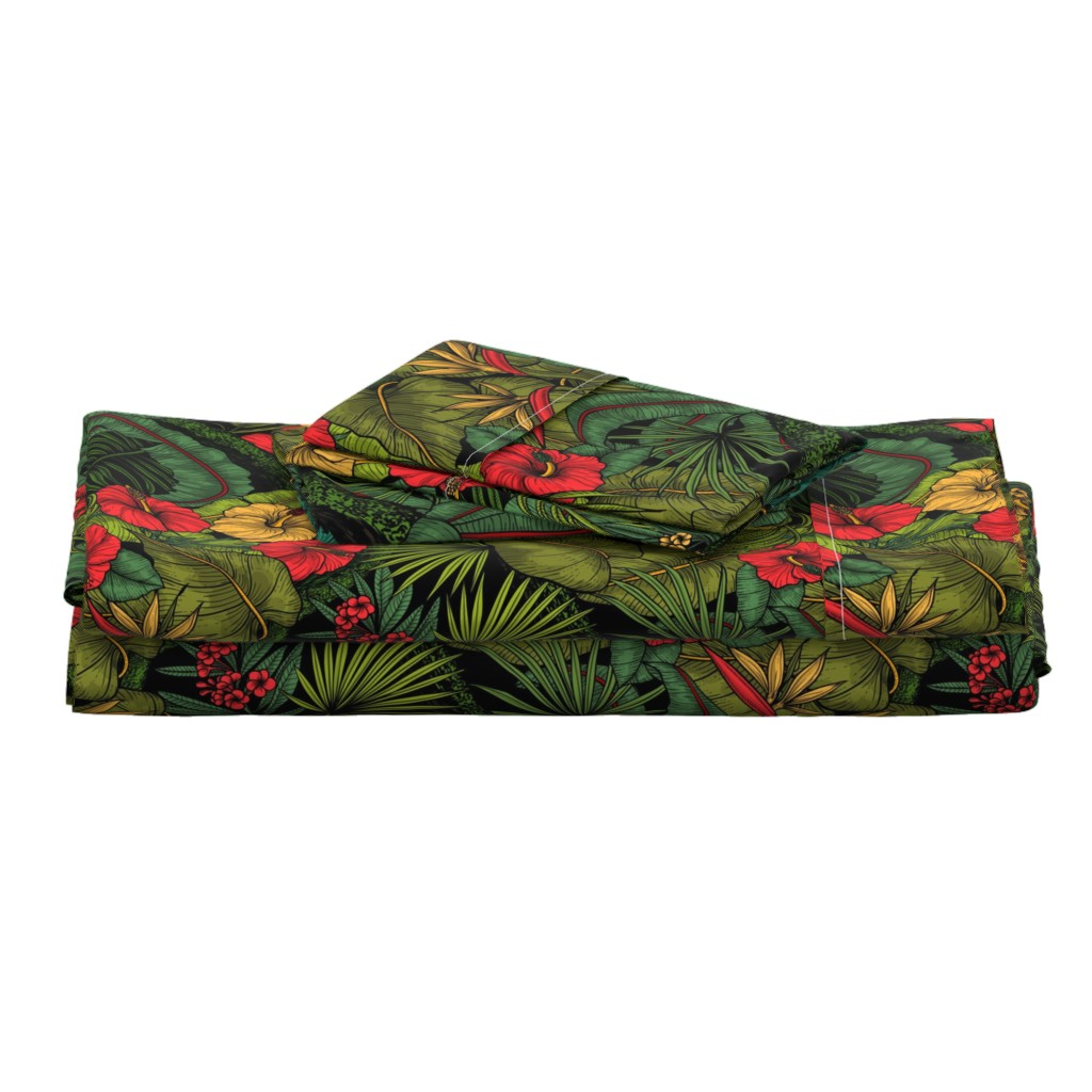 Langshan Full Bed Set featuring Tropical garden, green and red by katerina_kirilova