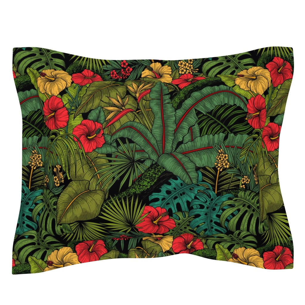 Sebright Pillow Sham featuring Tropical garden, green and red by katerina_kirilova