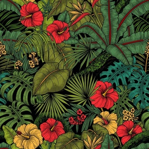 Tropical garden, green and red