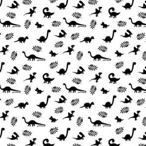 Minimal tropical dinosaur garden palm leaf summer swim design monochrome black and white SMALL