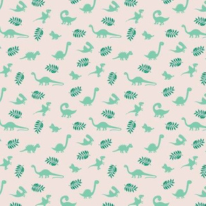 Minimal tropical dinosaur garden palm leaf summer swim design green beige SMALL