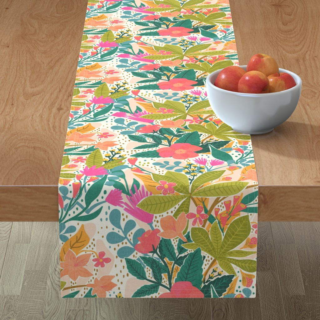 Minorca Table Runner featuring Bohemian Garden by jacquelinehurd
