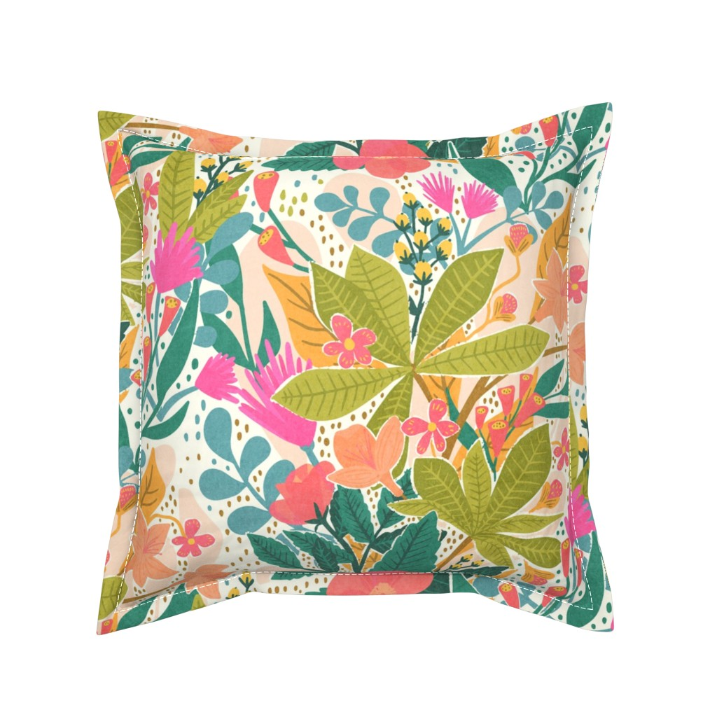 Serama Throw Pillow featuring Bohemian Garden by jacquelinehurd
