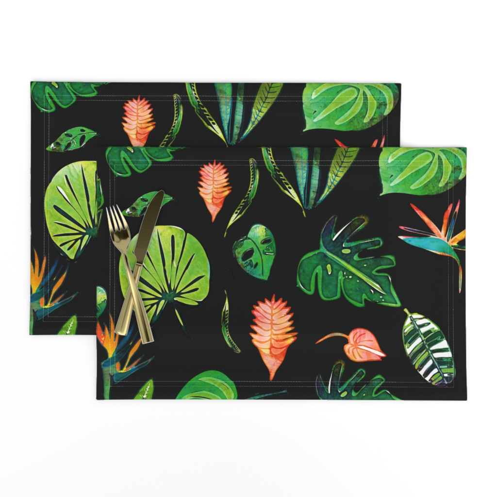 Lamona Cloth Placemats featuring Bohemian Tropical Black by bruxamagica