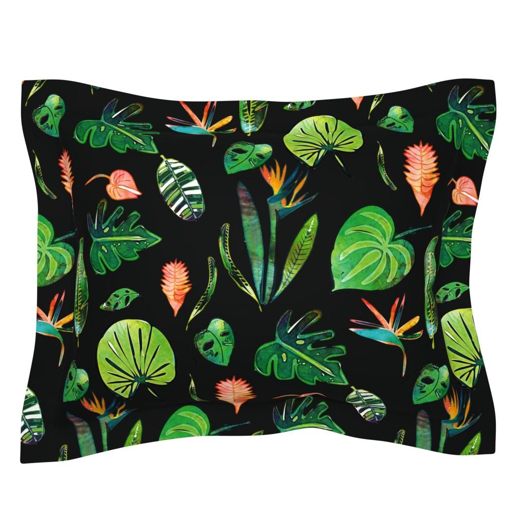 Sebright Pillow Sham featuring Bohemian Tropical Black by bruxamagica