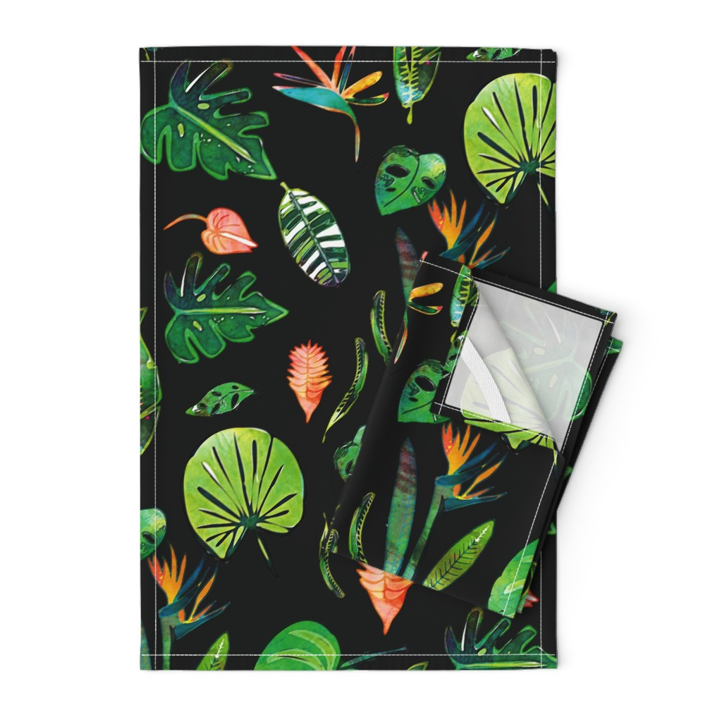 Orpington Tea Towels featuring Bohemian Tropical Black by bruxamagica