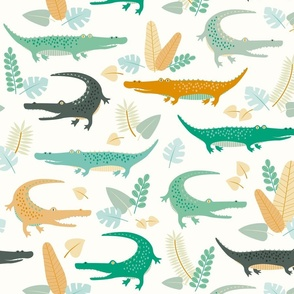 crocodiles and leaves
