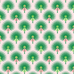 Fan Palm Leaves on Pink - Small