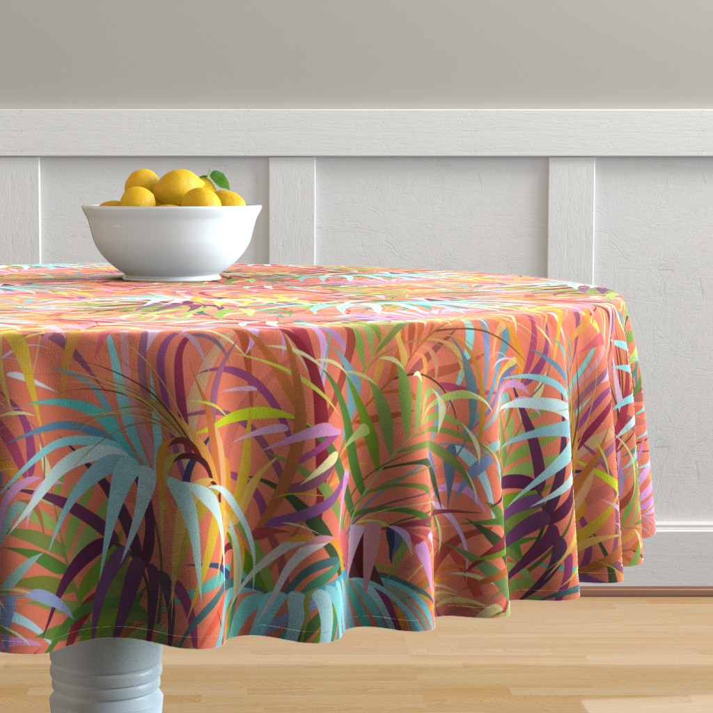 Malay Round Tablecloth featuring Tropical Mood of the Coral Season by runcatrun