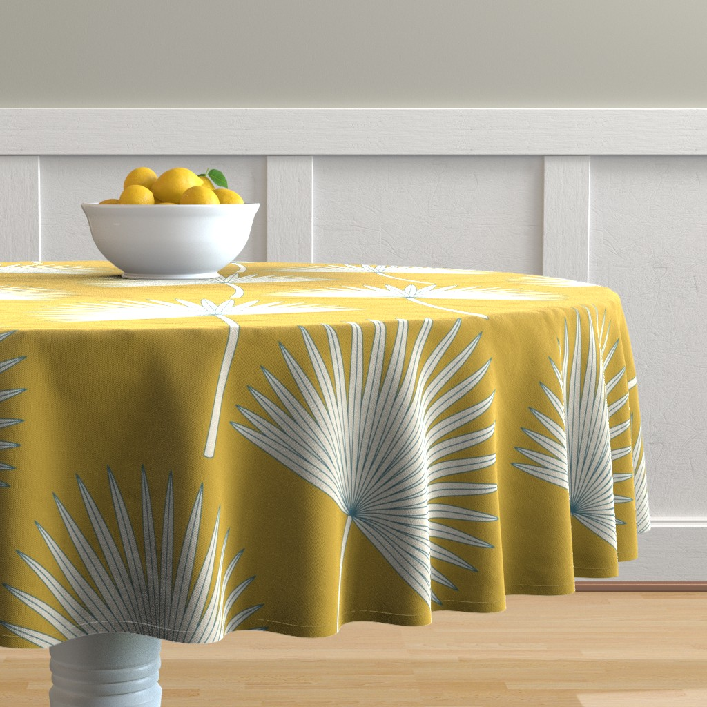 Malay Round Tablecloth featuring Boho sunshine palm leaves on mustard green by juliaschumacher