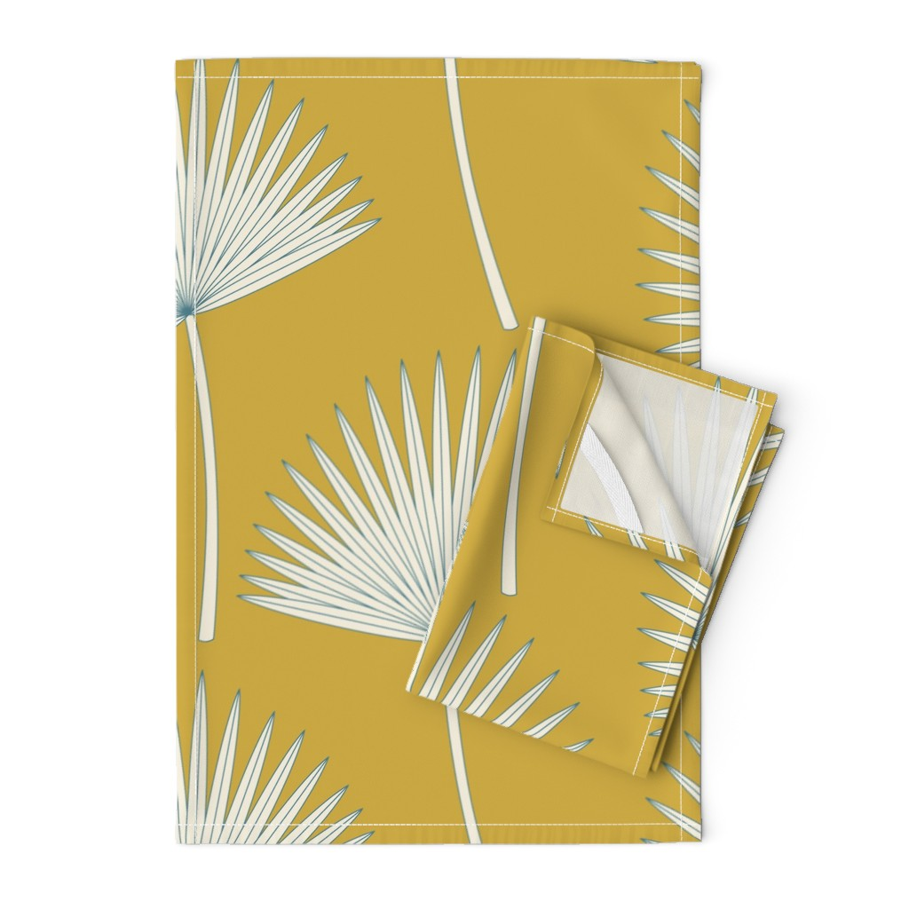 Orpington Tea Towels featuring Boho sunshine palm leave on mustard green by juliaschumacher