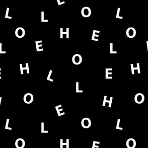 Sweet HELLO minimal hello text design abstract typography print with expressions from the heart monochrome black and white