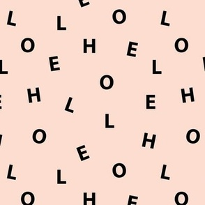 Sweet HELLO minimal hello text design abstract typography print with expressions from the heart black peach