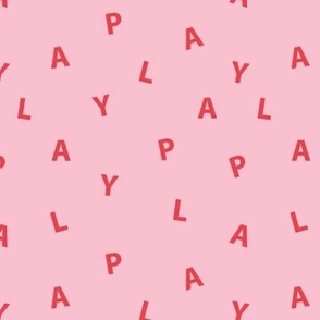 Sweet PLAY minimal play text design abstract typography print with expressions from the heart pink red girls summer
