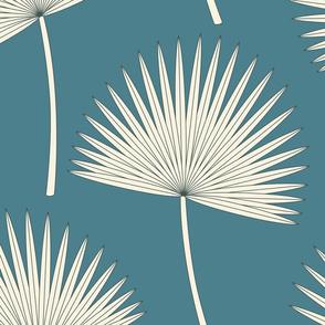 Boho sunshine palm leaves on emerald