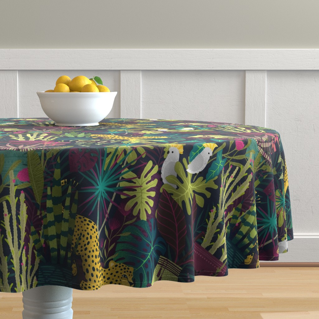 Malay Round Tablecloth featuring lush life  by michaelzindell