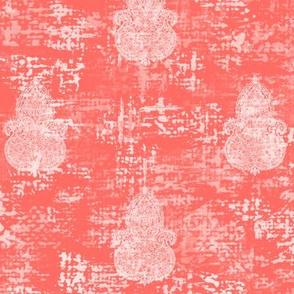 Boho Coral-white Turpentine cloth