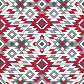 Native American Aztec Red Charcoal Pattern