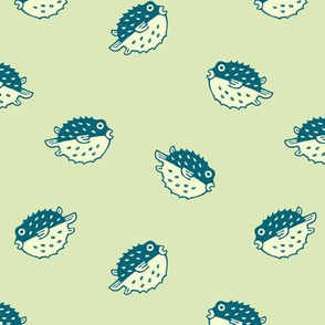 pufferfish on sprout green